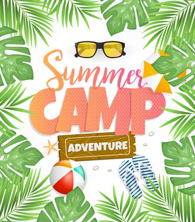 Summer Camp Vector Poster Design for Adventure with Tropical Leaves Çizim