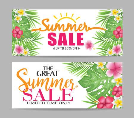Banner floreali di vendita estate con foglie tropicali e fiori colorati per scopi promozionali illustrazione vettoriale Archivio Fotografico - 75266609