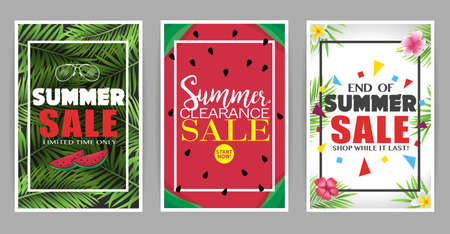 Creative Summer Sale Posters Set for Promotional Purposes Vector Illustration Illustration