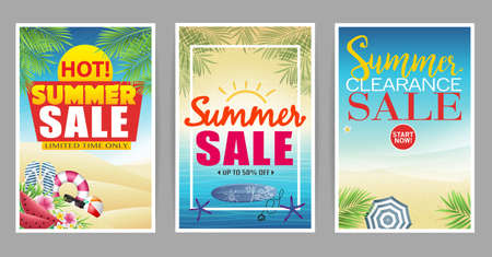 Summer Sale Poster with Colorful and Creative Beach Background Vector Illustration