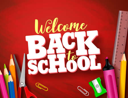 Back to school vector banner design in red texture background with school supplies and items and 3d title. Vector illustration.