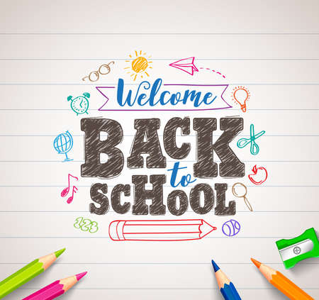 Back to school vector drawing in white paper with colorful crayons, coloring pens and elements. Vector illustration banner. Illustration