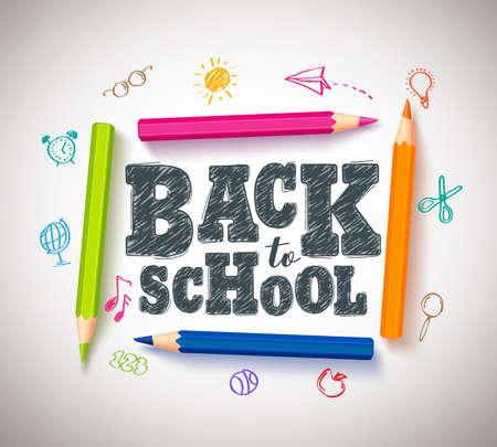 Volver al diseño de banner de tipografía vector de escuela con lápices de colores coloridos y plumas para colorear en un fondo de papel blanco. Ejemplo del vector