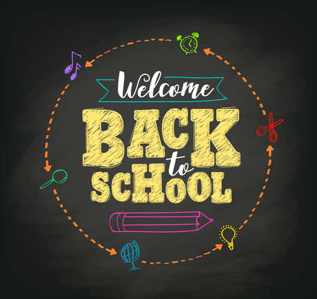 chalks: Welcome back to school concept vector design with writing in blackboard by colorful chalks in black textured background. Vector illustration.