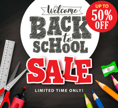Back to school sale text in vector with school items and supplies for store promotion banner in black textured background. Çizim
