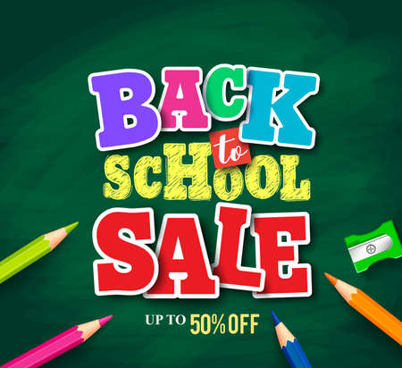 Powrót do szkoły sprzedaż wektor transparent projekt do promocji sklepu z kolorowe kredki w teksturowanej zielonym tle. Ilustracji wektorowych.