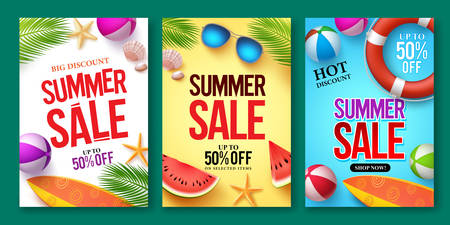 Summer sale vector poster set with 50% off discount text and summer elements in colorful backgrounds for store marketing promotion. Vector illustration.