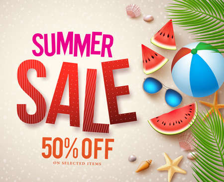 Vector summer sale banner design with red sale text and colorful elements in beach sand background for shopping discount promotion. Vector illustration.