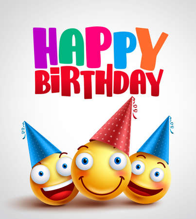 Happy birthday smileys celebrant with happy friends, funny vector banner design in white background with colorful text. Vector illustration.