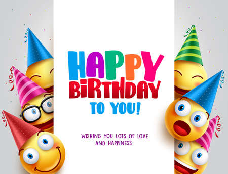 Alles Gute zum Geburtstagvektorentwurf mit Smileys, die Geburtstagshut im weißen leeren Raum für Nachricht und Text für Partei und Feier tragen. Vektorillustration. Vektorgrafik