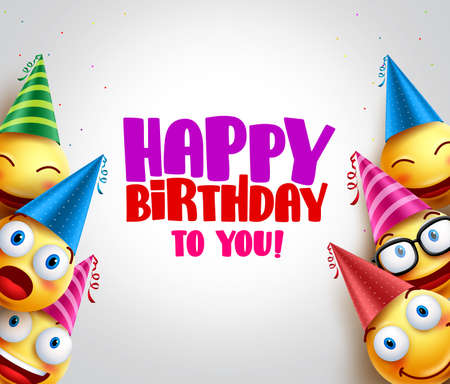 Smileys vector background with happy birthday greeting, funny smileys wearing colorful birthday hats for party and celebrations. Vector illustration. Vettoriali
