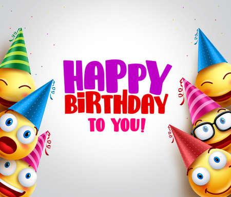 Tło wektor uśmieszki z życzeniami wszystkiego najlepszego, śmieszne buźki sobie kolorowe urodziny kapelusze na imprezę i uroczystości. Ilustracji wektorowych.