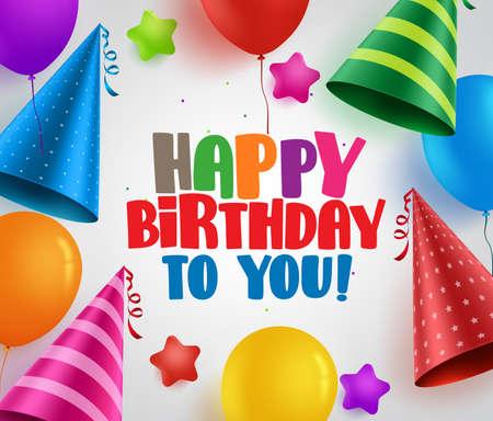 Alles Gute zum Geburtstag vector Grußkartenhintergrunddesign mit bunten Partyhüten und -ballonen im Weiß. Vektor-Illustration
