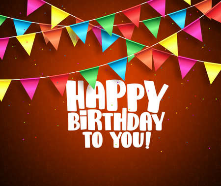 Happy birthday vector banner design. Birthday text and colorful streamers hanging in red background with patterns. Vector illustration. Illustration