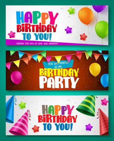 Alles- Gute zum Geburtstagvektor-Fahnendesigne stellte mit bunten Elementen wie Ballonen und Geburtstagshüten für Geburtstagsfeier oder Einladungen ein. Vektor-Illustration