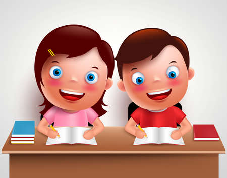 Kid boy and girl vector characters studying together doing homework and writing notes in desk table with white background. Vector illustration.