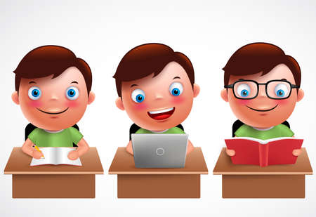 smile happy: Boy kid vector characters set. Male preschool student studying, reading and browsing in laptop in the desk table with happy smile isolated in white background. Vector illustration.
