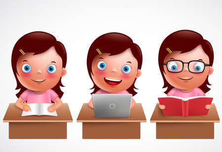 Girl kid vector characters set. Female preschool student studying, reading and browsing in laptop in the desk table with happy smile isolated in white background. Vector illustration.
