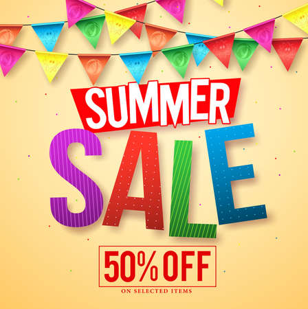 streamers: Summer sale vector banner design with colorful sale text and streamers hanging for seasonal discount promotion. Vector illustration.
