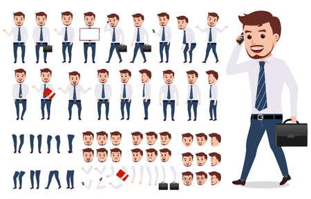 Set di creazione di personaggi uomo d'affari. Carattere vettoriale maschio camminare e chiamare indossando abiti di ufficio formale con gesti, pose e volti isolati in bianco. Illustrazione vettoriale.