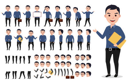 Businessman or male vector character creation set. Professional man holding folder with poses, gestures and emotions isolated in white. Vector illustration. Reklamní fotografie - 79993617