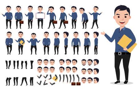 Conjunto de creación de personajes de vector de hombre de negocios o macho. Carpeta profesional de la explotación agrícola del hombre con las actitudes, los gestos y las emociones aisladas en blanco. Ilustración del vector. Ilustración de vector