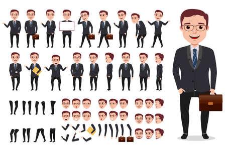 Hombre de negocios o la oficina masculina vector kit de creación de personajes. Conjunto de personajes listos para usar y crear su propia con poses y gestos aislados en blanco.