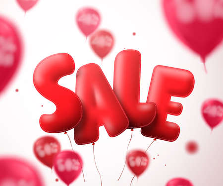 Sale balloon text vector banner design. Flying red sale shape with blurred balloons in a white background for store discount promotions. Illustration