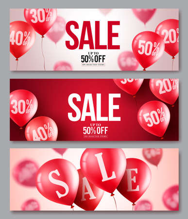 50 off: Sale vector balloons banner set, Collections of flying balloons with 50 percent off in red and white backgrounds for store marketing promotions; Vector illustration.