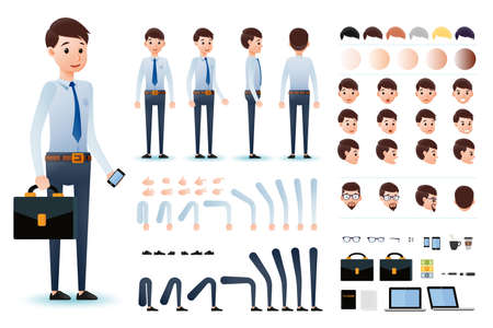 Male Clerk Character Creation Kit Template with Different Facial Expressions, Hair Colors, Body Parts and Accessories. Vector Illustration. Vettoriali