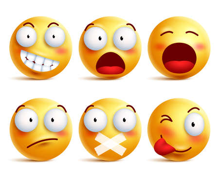 Smileys vector set. Smiley face icons or emoticons with facial expressions and emotions in yellow color isolated in white background. Vector illustration.