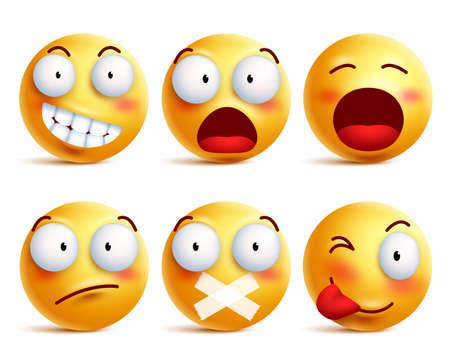 Zestaw wektorowych emotikonów. Smiley ikony twarzy lub emotikony z wyrazu twarzy i emocji w kolorze żółtym samodzielnie na białym tle. Ilustracji wektorowych.