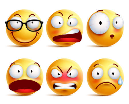 Smiley face or emoticons vector set in yellow with facial expressions and emotions like happy, angry and sad isolated in white background. Vector illustration. Vettoriali