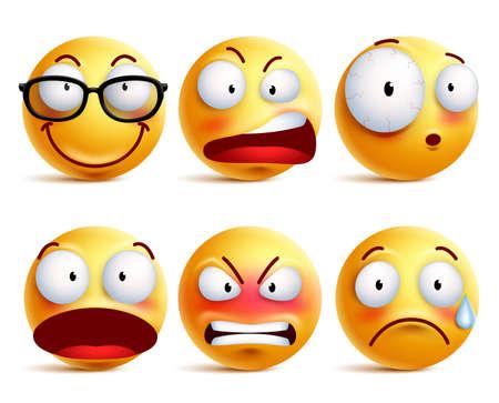 Smiley twarzy lub emoticons wektorowy ustawiający w kolorze żółtym z wyrazami twarzy i emocjami jak szczęśliwy, gniewny i smutny odosobniony w białym tle ,. Ilustracji wektorowych. Ilustracje wektorowe