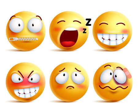 Zestaw wektorowych emotikonów. Żółty buźkę lub emotikony z wyrazami twarzy i emocjami, takimi jak szczęśliwy, zip, senny i pobity samodzielnie na białym tle. Ilustracji wektorowych.