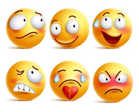 Zestaw wektorowych emotikonów. Smiley twarzy lub żółty emotikony z wyrazu twarzy i emocji, takich jak szczęśliwy, nieśmiały, zły i złamane serce odizolowane na białym tle. Ilustracji wektorowych.