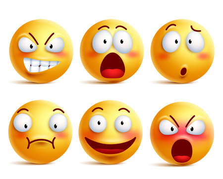Smileys vector set. Smiley face or yellow emoticons with facial expressions and emotions like happy, shouting, confused and shocked isolated in white background. Vector illustration.