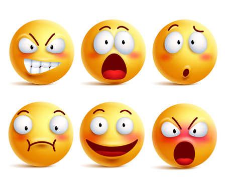 Zestaw wektor uśmieszki. Smiley twarz lub żółte emotikony z wyrazu twarzy i emocje jak szczęśliwy, krzyczy, zdezorientowany i zszokowany na białym tle w tle. Ilustracji wektorowych.