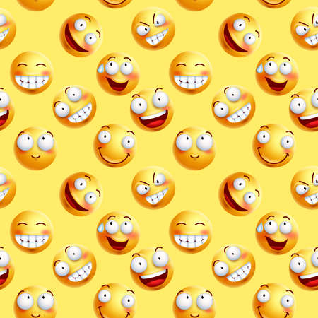 Vector smileys wallpaper continuous pattern with seamless facial expressions of yellow happy faces in yellow background. Vector illustration.
