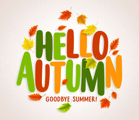 Hello autumn greetings vector design with yellow maple leaf and hello autumn vector banner design with colorful maple leaves elements and text greetings for fall season m4hsunfo Image collections