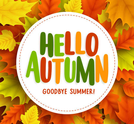 Hello autumn greetings vector design with yellow maple leaf and hello autumn text greetings vector banner design with white circle for text in fall seasonal maple m4hsunfo Image collections
