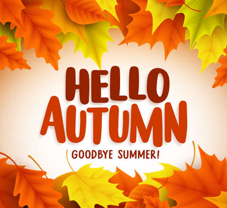 Hello autumn greetings vector design with yellow maple leaf and hello autumn text greetings in vector banner design with colorful maple leaves in white background for m4hsunfo Image collections