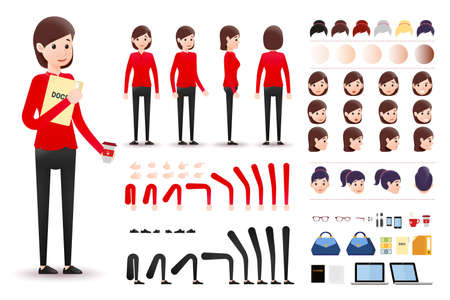 Female Clerk Character Creation Kit Template with Different Facial Expressions, Hair Colors, Body Parts and Accessories.