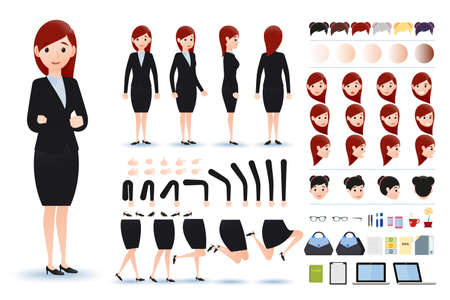 fale: Businesswoman Character Creation Kit Template with Different Facial Expressions, Hair Colors, Body Parts and Accessories. Vector Illustration.