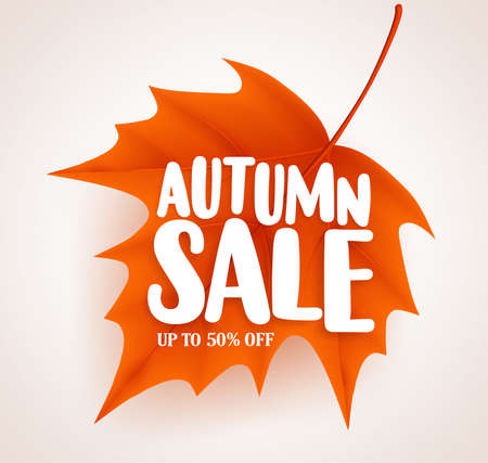 Orange autumn leaf with sale text in white background vector banner design for fall seasonal marketing promotion. Vector illustration. Illustration