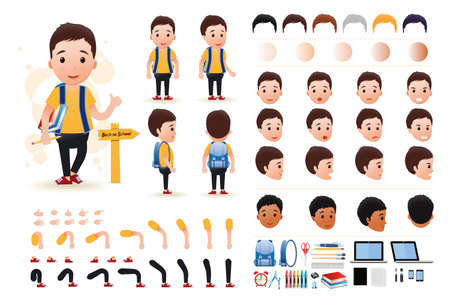 Little Boy Student Character Creation Kit Template with Different Facial Expressions, Hair Colors, Body Parts and Accessories. Vector Illustration. Illustration
