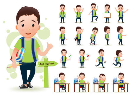 Ready to Use Little Boy Student Character with Different Facial Expressions, Hair Colors, Body Parts and Accessories. Vector Illustration.
