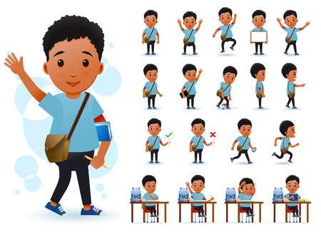 Listo para el uso pequeño carácter negro del estudiante del muchacho del africano con diversas expresiones faciales, colores de pelo, piezas y accesorios del cuerpo. Ilustración vectorial.