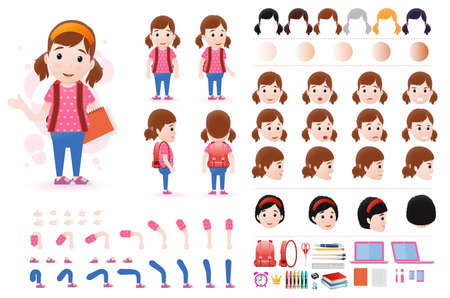 Little Girl Student Character Creation Kit Template with Different Facial Expressions Stock fotó - 84956313