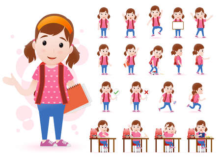 skin tones: Ready to Use Little Girl Student Character with Different Facial Expressions
